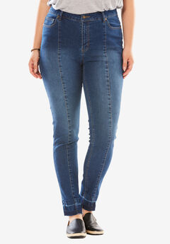 Stretch Front Seam Skinny Jean, MEDIUM STONEWASH SANDED, hi-res