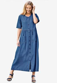 Short-Sleeve Denim Dress, MEDIUM STONEWASH