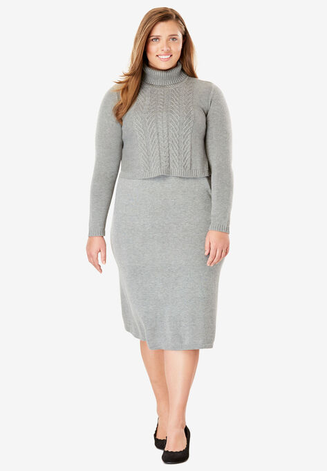 Popover Sweater Dress Plus Size Short Dresses Woman Within
