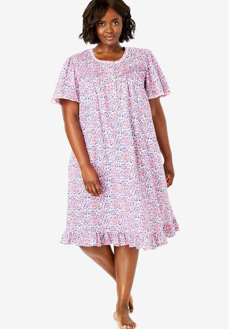35c98492d1806 Short Floral Print Cotton Gown by Dreams   Co.®