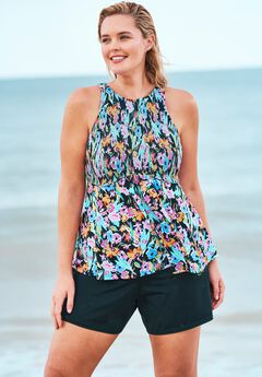 Smocked High-Neck Tankini Top ,