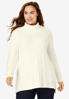 Mixed Cable Turtleneck Sweater, IVORY