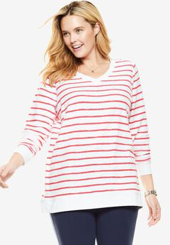 Embroidered V-Neck Sweatshirt, WHITE CORAL RED STRIPE, hi-res