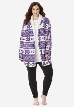 Fleece Bed Jacket by Dreams & Co.®, LIGHT ORCHID FAIR ISLE