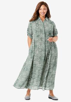 Crinkle Shirtdress, PINE GEO TILE