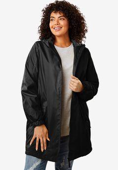 Hooded Slicker Raincoat, BLACK, hi-res