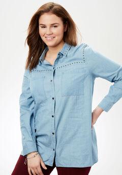 Studded Denim Button-Down Shirt, DENIM, hi-res