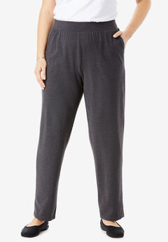 Wide-Leg Relaxed Knit Pant, HEATHER CHARCOAL, hi-res