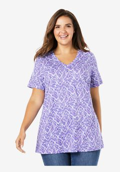Perfect Printed V-Neck Tee, PURPLE BLUE CHEVRON