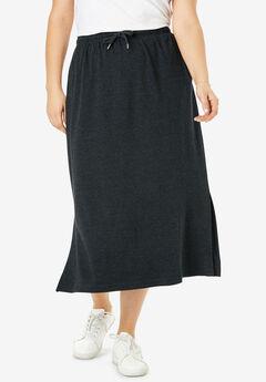 Sport Knit Midi Skirt, HEATHER CHARCOAL, hi-res