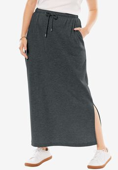 Sport Knit Midi Skirt, HEATHER CHARCOAL, hi-res