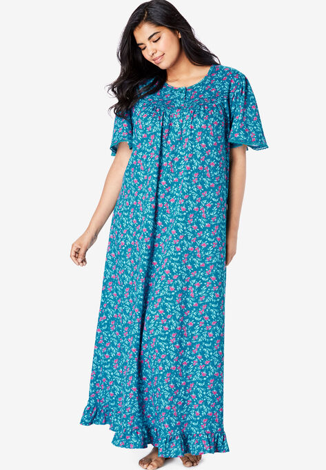 Long Floral Print Cotton Gown by Dreams & Co.®| Plus Size Nightgowns ...