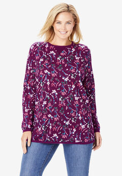 Thermal Sweatshirt, DARK BERRY DANCING BOUQUET