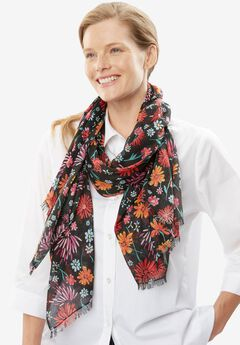 Lightweight print scarf, MULTI PAINTED DAISY, hi-res