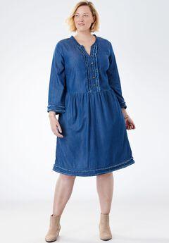 Pinktucked Denim Dress with Raw-Edge Trim,
