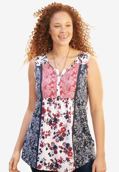 Sleeveless printed Henley top, NAVY CLASSIC RED PRINT, hi-res