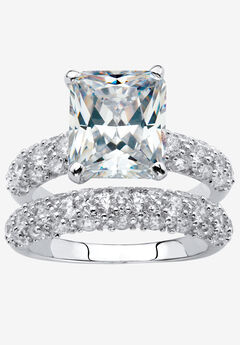 Platinum-Plated Emerald Cut Bridal Ring Set Cubic Zirconia,