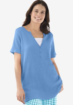 Split-Neck Henley Thermal Tee,