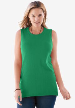 Fine gauge sleeveless crewneck sweater, KELLY GREEN, hi-res