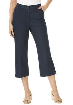 Capri Side Elastic 100% Cotton Jean, INDIGO, hi-res