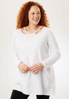 Cutout Neckline Tunic, WHITE