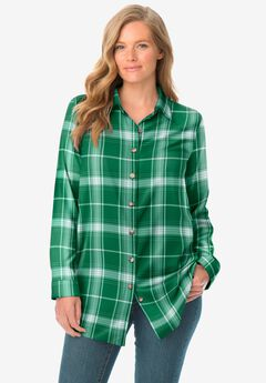 Classic Flannel Shirt, EMERALD LOVELY PLAID