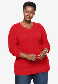 Cable knit V-neck pullover sweater, ELECTRIC RED