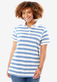 Perfect Printed Polo T-shirt, TWILIGHT BLUE DOUBLE STRIPE