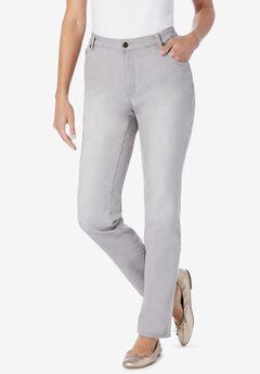 Straight Leg Stretch Jean, GREY SANDED WASH