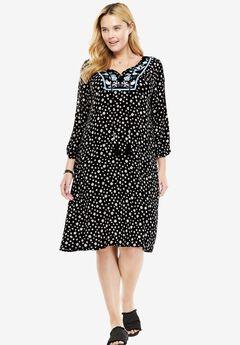 Embroidered Bib Dress,