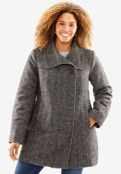 Double-breasted wool-blend coat, BLACK, hi-res