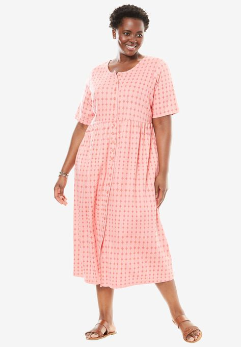 Button Front Empire Waist Dress By Only Necessities Plus Size