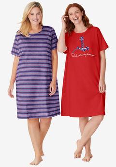 2-Pack Short-Sleeve Sleepshirt ,