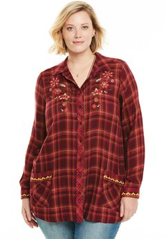 Embroidered Plaid Button-Down Shirt,