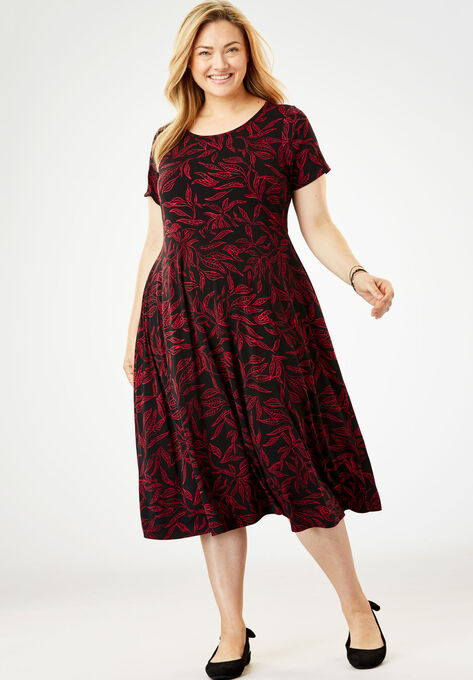 Short sleeve knit fit-and-flare dress