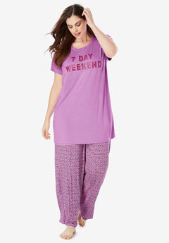 Soft PJ Tunic Tee by Dreams & Co.®, LIGHT ORCHID