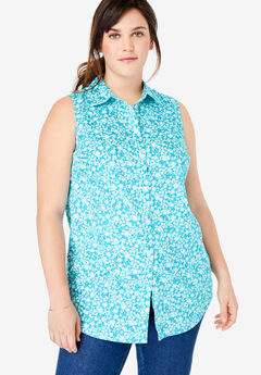 Perfect Button Down Sleeveless Shirt,