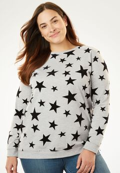 Flocked-Shapes French Terry Sweatshirt,
