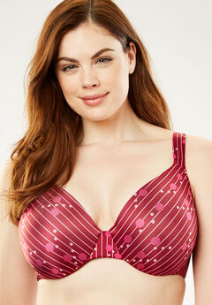 Microfiber Underwire T-Shirt Bra by Comfort Choice®, POMEGRANATE STRIPE, hi-res