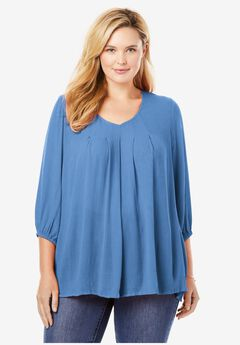 V-Neck Pleated Blouse With Three-Quarter Sleeves,