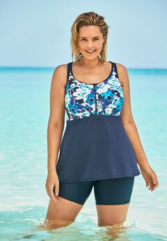 Zip-Front Tankini Top by Swim 365,