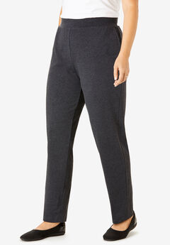 Slim Leg Relaxed Knit Pant, HEATHER CHARCOAL, hi-res