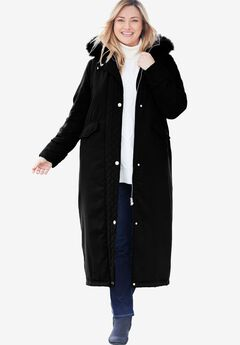 Long Quilted Microfiber Parka Coat,