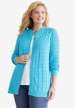 Cable Knit Cardigan, PARADISE BLUE