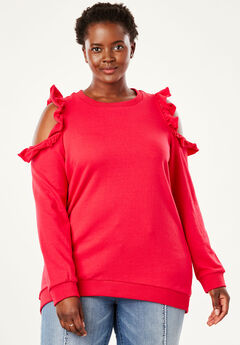 Cold-Shoulder Ruffle Tunic Sweatshirt by Chelsea Studio®, HOT PINK, hi-res