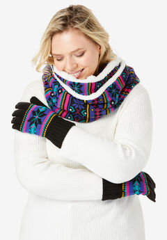 Sherpa-Lined Infinity Scarf & Gloves Set,