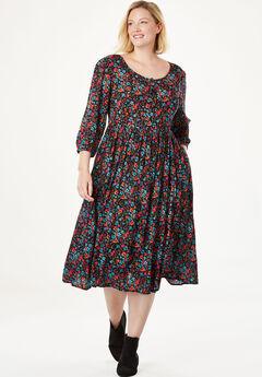 Empire Crinkle Dress, MULTI FLORAL, hi-res