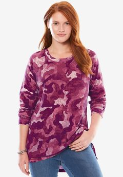Classic thermal knit sweatshirt, PINK CAMO, hi-res