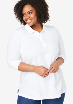 Long-Sleeve Tunic Polo Shirt, WHITE