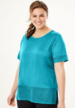 Short-Sleeved Perforated Tee, DEEP TURQUOISE, hi-res